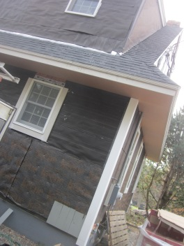 Cedar siding with felt paper vapor barrier and Keene rain screene